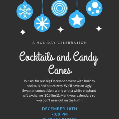 REMINDER: Our Holiday party is this Tuesday 12/18 at 7:00 PM. Bring a gift, wear your best sweater, and invite a friend. It's gonna be a lot of fun! ❄️
