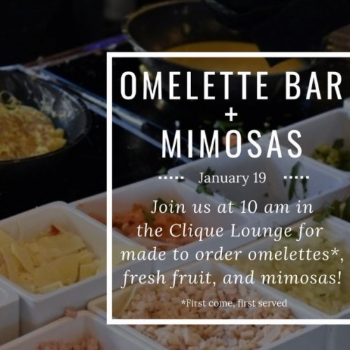 Saturday's were made for brunch! This Saturday at 10 AM we'll have @chefskitchenclt here cooking up some made-to-order omelettes along with fresh fruit, and mimosas! Make sure to come early because it will be first come, first served while supplies last. Can't wait to brunch with you all